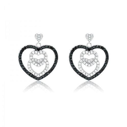 MICRO PAVE EARRINGS black stone heart earrings D-4469