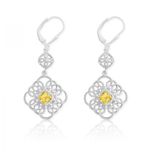 DIA. WITH CENTER CITRINE SQUARE EARRINGS D-5116