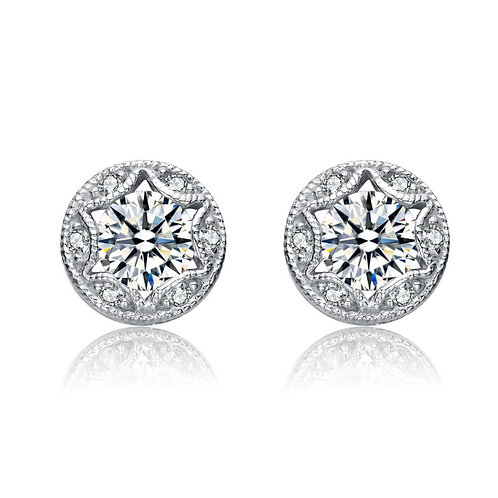Antique Style Pave'Set Stud Earrings TCSE-EAR6081