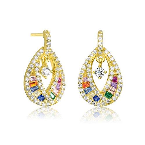 Sterling Silver/Gold Plated Tear Drop Multi Stone Earrings CSE-EAR4139-MC-GP