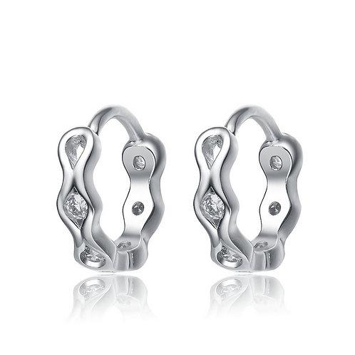 Sterling/Platinum Plated Matt Finish Huggie Style Earrings CE- EAR7210
