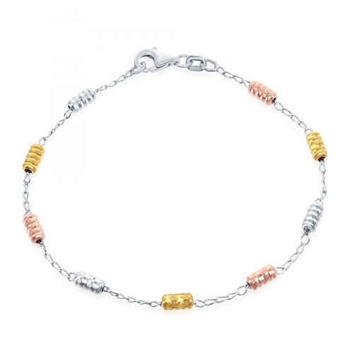 Sterling Silver/Rhodium Plated Tri Color Anklet ANK-R-9183