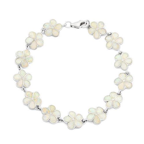 WHITE INLAY OPAL FLOWER LINK BRACELET T-7206
