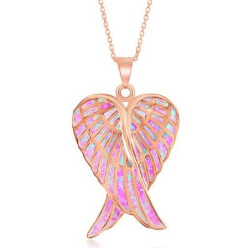 Sterling Silver RG Pink Inlay Opal Angel Wings Pendant CSN-K-7919