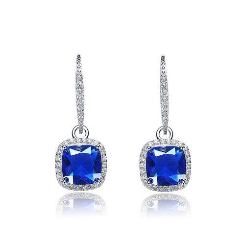 SS Rhodium Plated Sapphire Radiant Shape Drop Earrings TCE-EAR0008