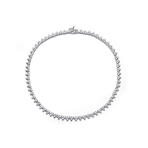 Sterling Silver Clear Cubic Zirconia Necklace NEC1065