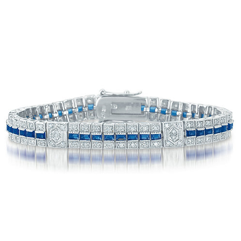 Magnificent Sterling Silver Sapphire Pave Stone Bracelet TB-BR1398-S