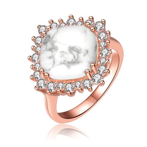 Rose Gold Overlay Howelite Stone Ring TCSR-R8083-HL