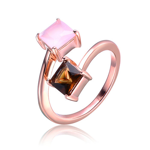 Princess Cut Smokey and Rose Quartz Ring CSR-R4106