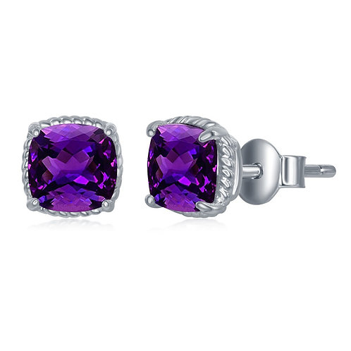 Sterling Silver 6MM Square Cushion-Cut Amethyst Earrings CL-D-6580