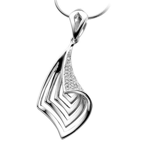 Sterling Silver Rhodium Plated Micro Setting Pendant CSN-PEN2094
