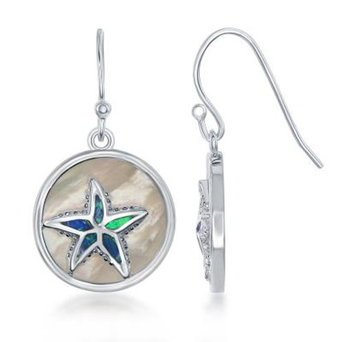 Sterling Silver Round MOP with Blue Inlay Opal Starfish Earrings CSE-D-6217