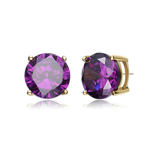 Stunning Round Amethyst Colored Stone Stud Earring .75ctw TCSE- EAR600-4MM-A