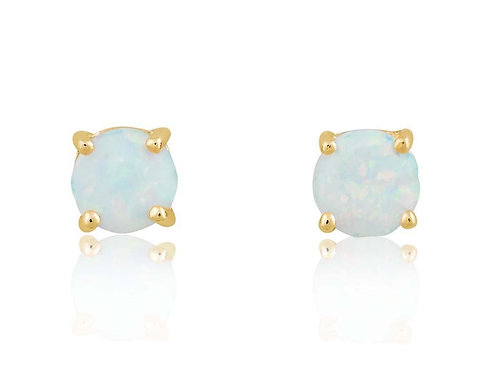 Sterling Silver 6mm Gold Plated White Opal Round Stud Earrings CL-D-5827-GP