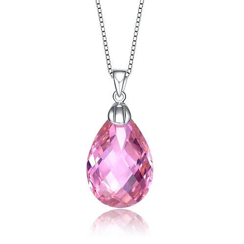 C.Z. Sterling Silver Rhodium Plated Pink Teardrop Pendant CN-PEN1087-PINK