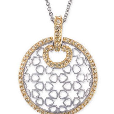 Sterling Silver Two Tone Round Drop Lace Pendant CSN- PEN611-GP