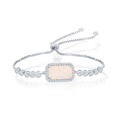 Sterling Silver Rectangle White Opal Bezel-Set CSB-T-7691