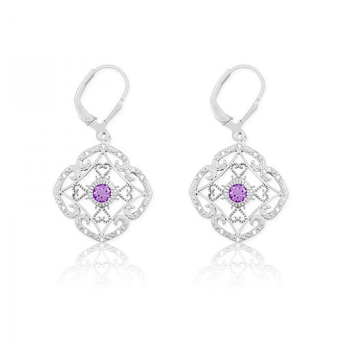 DIA. WITH CENTER AMETHYST SQUARE EAR. D-5120