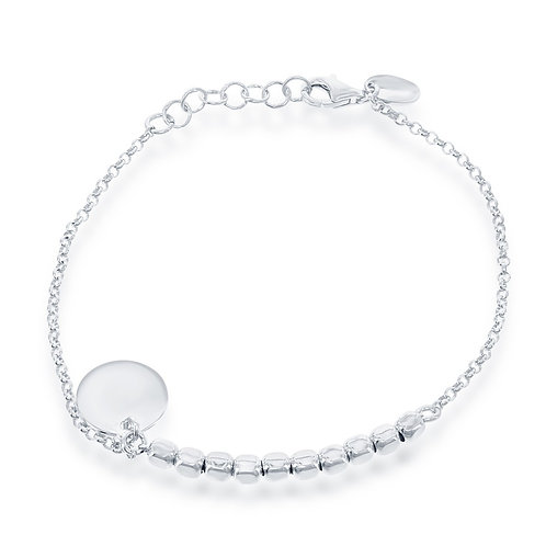 Sterling Silver Square Beads with Hanging Disc Bracelet CL-S-4993