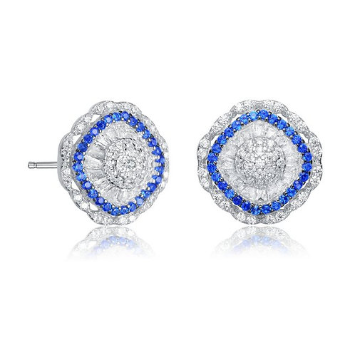 Sterling Silver with Rhodium Plated Stunning Bag/Round Earrings TE-EAR4176-S