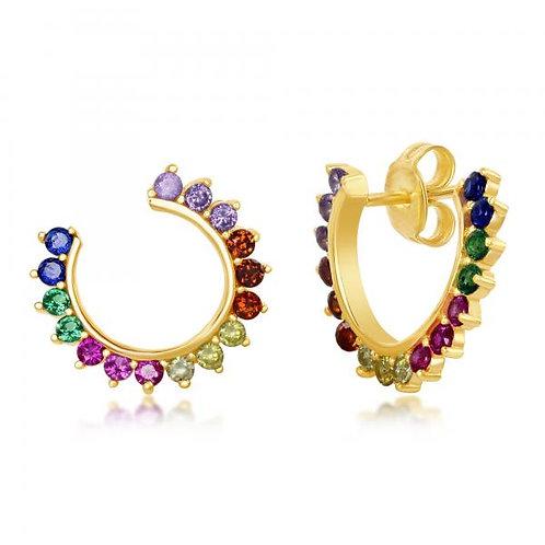 Sterling Silver Gold Plated Rainbow Open Hoop Earrings CSE-D-7137-GP
