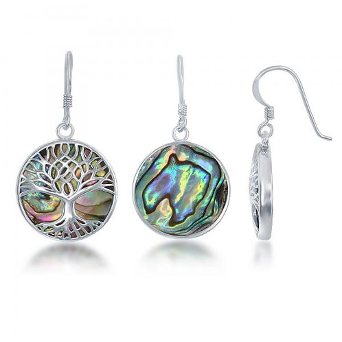 Sterling Silver Round Abalone with Tree of Life Earrings CSE-D-6303