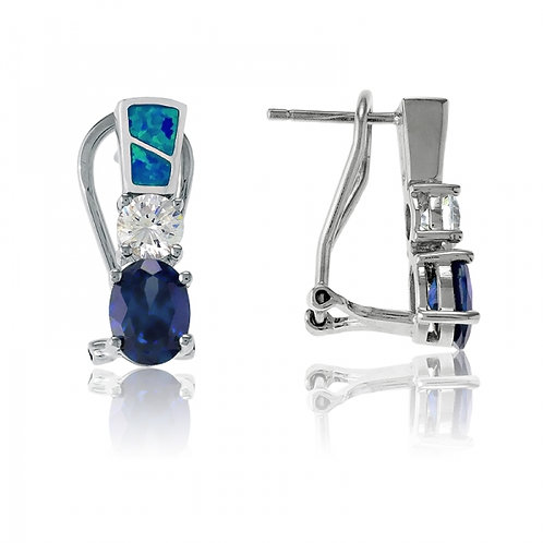 OPAL EARRINGS with Tanzanite Style Stone D-4612