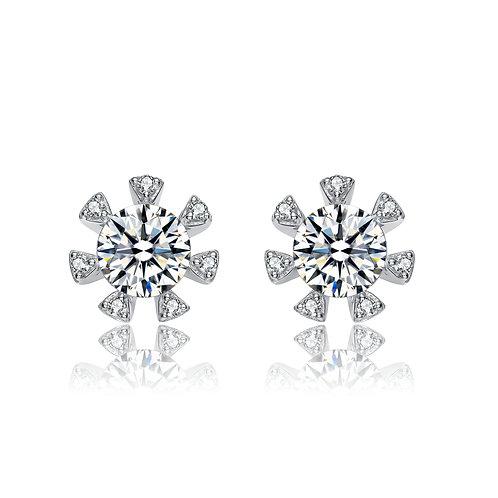 1.5ctw Sterling Silver Snowflake Button Earrings TCSE-EAR9227