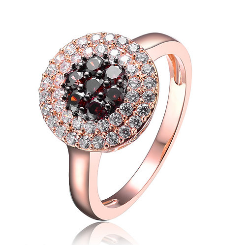 Sterling Silver Black and White Stone Ring Set in Rose Gold Plate R2409