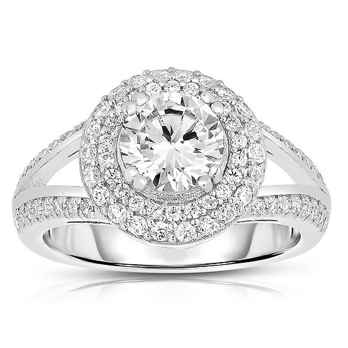 Sterling Silver Platinum Plated Double Halo Ring TR-R4098