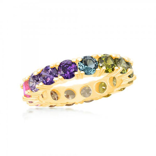 Sterling Silver Gold Plated Rainbow Stone Eternity Ring CSR-W-2117