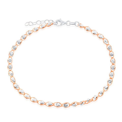 Sterling Silver Diamond Cut Rose GP Bead Anklet ANK-R-9101