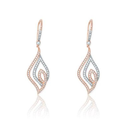 Sterling Silver Marquise Shaped Rose Tone Micro Pave Earrings CE-D-4839