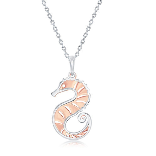Sterling Silver Two-Tone Cut-Out Sea Horse Necklace CL-L-3972