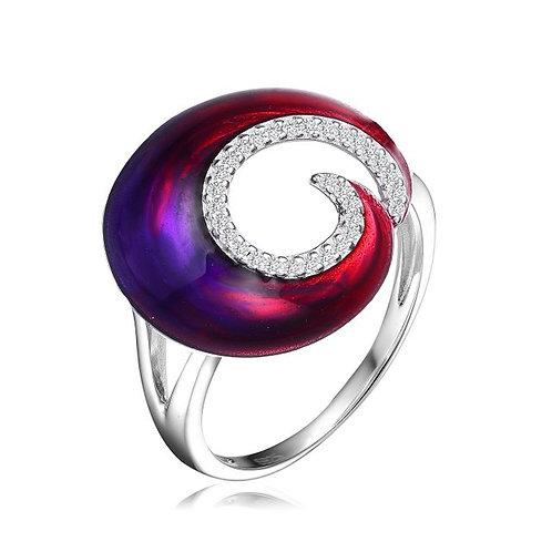 Sterling SilveRed-Purple Swirl Enamel Glass Ring CSR-R6553-R
