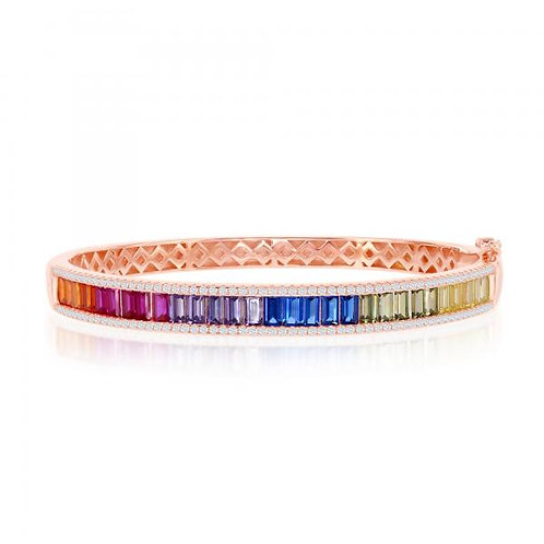 Sterling Silver Rose Gold Plated Rainbow Baguette Bangle CSB-U-6641