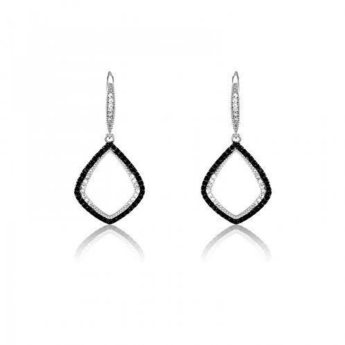 PAVE BLACK STONECZ EARRINGS D-4641