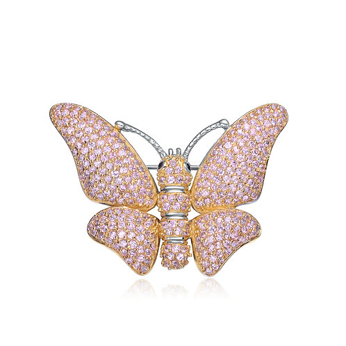 Sterling Silver Gold Overlay Pink Stone Butterfly Pin PIN1051-P
