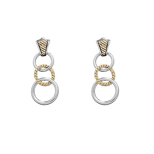 Sterling Silver Gold Plated Cable Style Drop Earrings CSE-A-1712