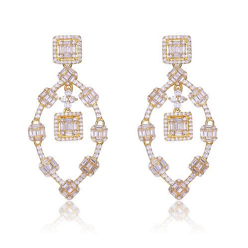 Stunning Gold Plated Baguette Drop Earrings TSE-EAR8903-GP