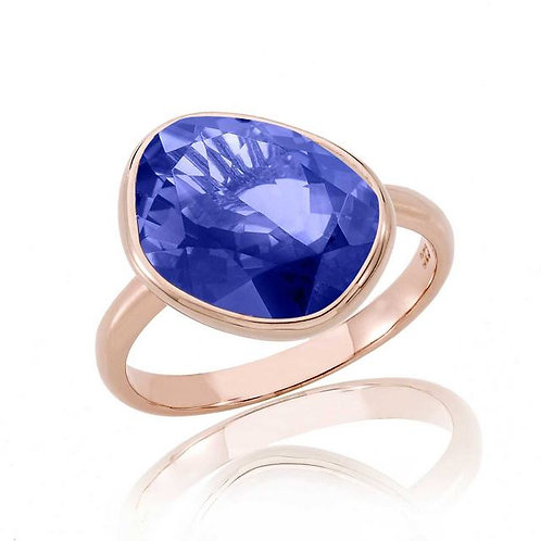 Sterling Silver Deep Blue Gold Toned Ring CSR-R7050-TN
