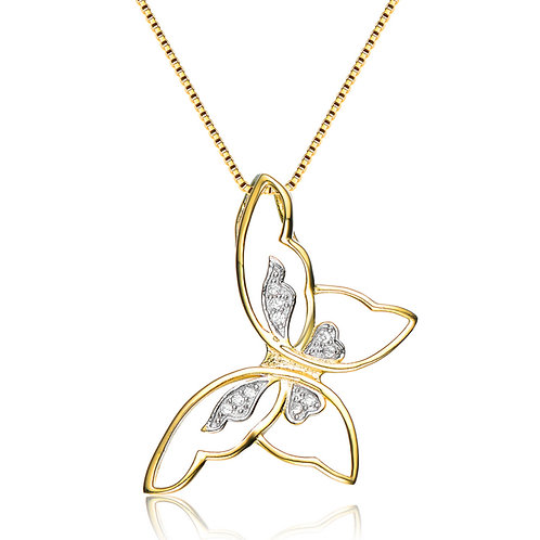 Sterling Silver Gold Toned Floating Butterfly Pendant CSN-PEN5968-GP