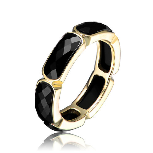 Sterling Silver Gold Toned Black stone Ring CSR-R9250-BLACK