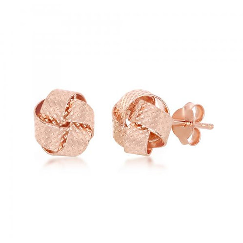 Sterling Silver Rose Gold Plated Textured Love Knot Stud Earrings CSE-A-2558