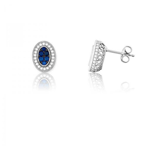 OVAL SAPPHIRE AND WHITE CZ MICRO PAVE EARRINGS D-5183