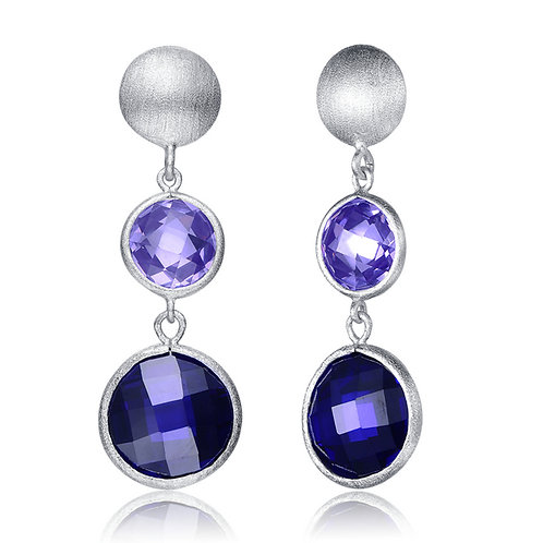 Sterling Silver Blue Cubic Zirconia Dangle Earrings GE1403-TN
