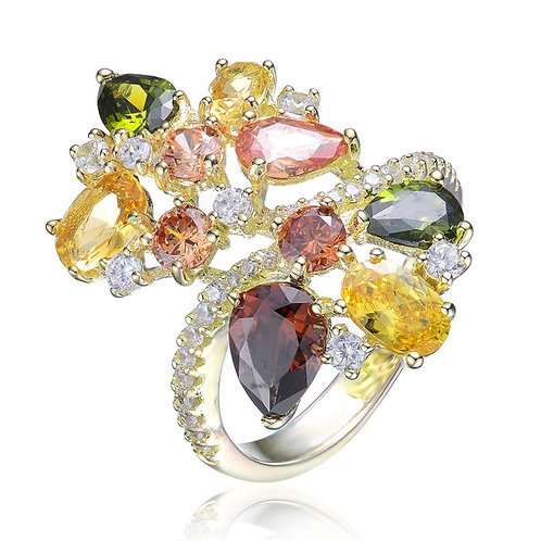 SS with Gold Plated Multi Colored Pear Oval Stone Ring CSR-R9935-MC-GP