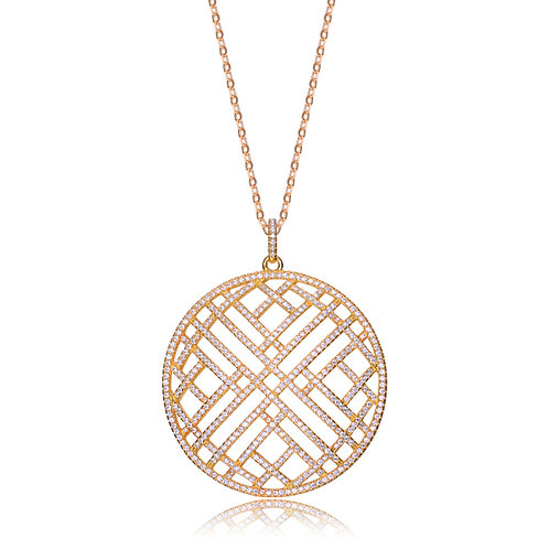 Sterling Silver Gold Plated Pave Style Circle Pendant CSN-PEN9112-GP