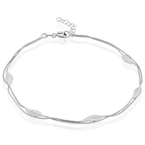 Sterling Silver Double Strand with Leaves Anklet ANK-R-9123