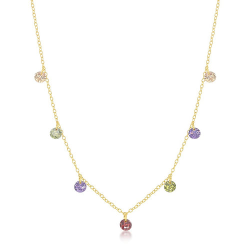 Sterling Silver Gold Plated Dangling Rainbow Necklace CSN-M-6179-GP